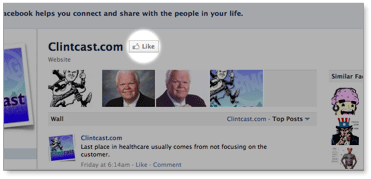 Clintcast at Facebook 'like' screenshot
